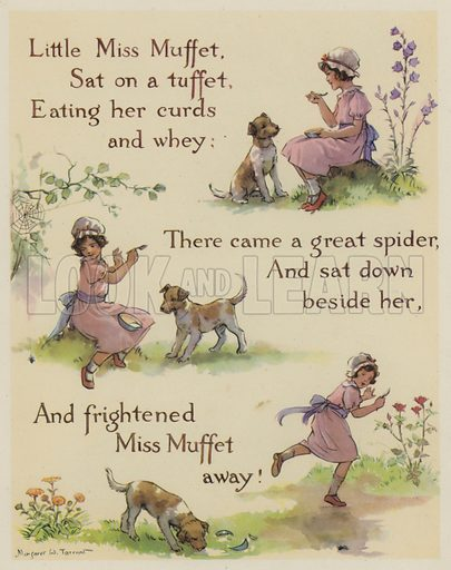 Little Miss Muffet.  Illustration for The Margaret Tarrant Nursery Rhyme Book (Collins, 1944).
