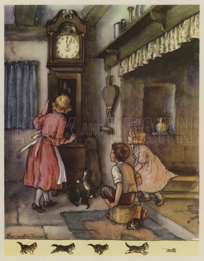 Hickery, Dickery, Dock.  Illustration for The Margaret Tarrant Nursery Rhyme Book (Collins, 1944).