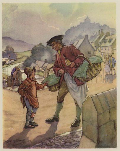 Simple Simon.  Illustration for The Margaret Tarrant Nursery Rhyme Book (Collins, 1944).