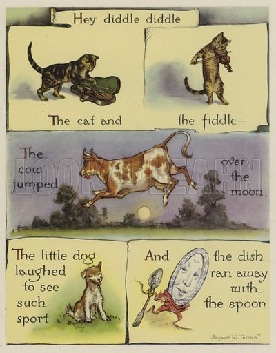 Hey Diddle Diddle.  Illustration for The Margaret Tarrant Nursery Rhyme Book (Collins, 1944).