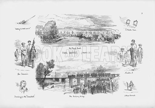 Illustration for A Cambridge Scrap-Book (Macmillan, 1859).  Containing in a pictorial form a report on the manners, customs, humours and pastimes of the University of Cambridge from information received by a special commissioner, with an appendix of papers on applied mathematics.