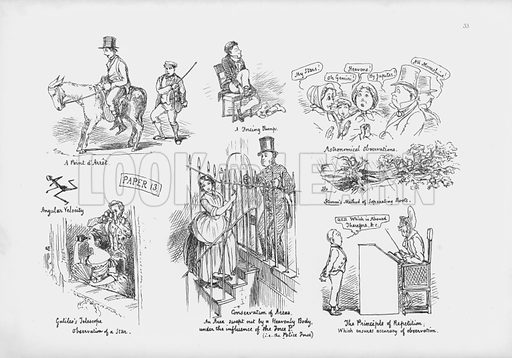 Paper on applied mathematics.  Illustration for A Cambridge Scrap-Book (Macmillan, 1859).  Containing in a pictorial form a report on the manners, customs, humours and pastimes of the University of Cambridge from information received by a special commissioner, with an appendix of papers on applied mathematics.