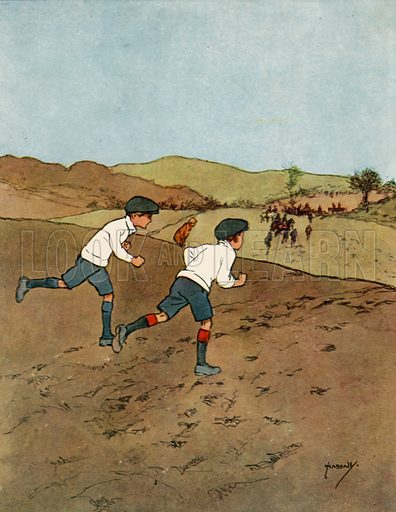 Running.  Illustration for Chums by John Hassall (Thomas Nelson, c 1906).