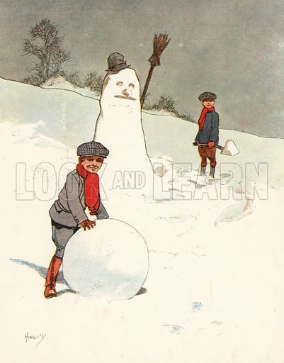 Snowballing.  Illustration for Chums by John Hassall (Thomas Nelson, c 1906).