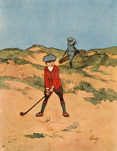Golf.  Illustration for Chums by John Hassall (Thomas Nelson, c 1906).