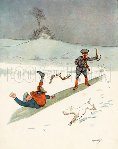 Sliding.  Illustration for Chums by John Hassall (Thomas Nelson, c 1906).