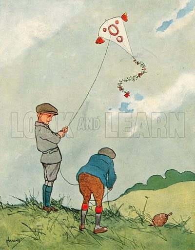 Kiting.  Illustration for Chums by John Hassall (Thomas Nelson, c 1906).