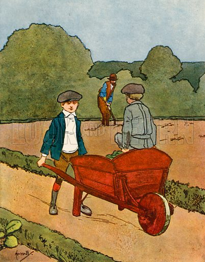 Gardening.  Illustration for Chums by John Hassall (Thomas Nelson, c 1906).