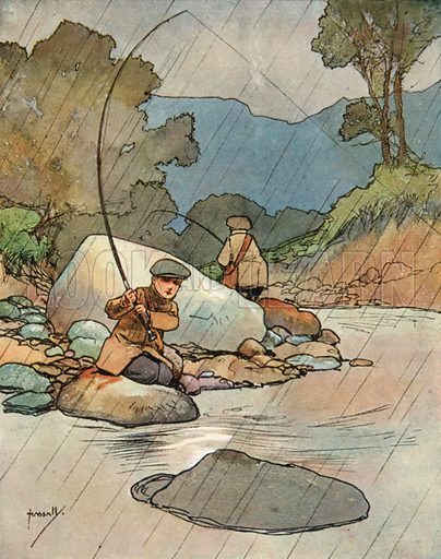 Fishing.  Illustration for Chums by John Hassall (Thomas Nelson, c 1906).