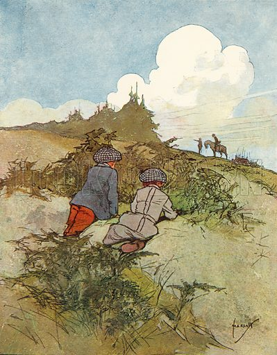 Watching soldiers. Illustration for Chums by John Hassall (Thomas Nelson, c 1906).