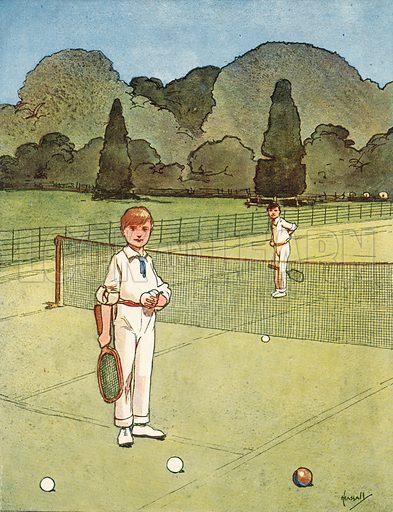 Tennis.  Illustration for Chums by John Hassall (Thomas Nelson, c 1906).