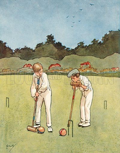 Croquet.  Illustration for Chums by John Hassall (Thomas Nelson, c 1906).