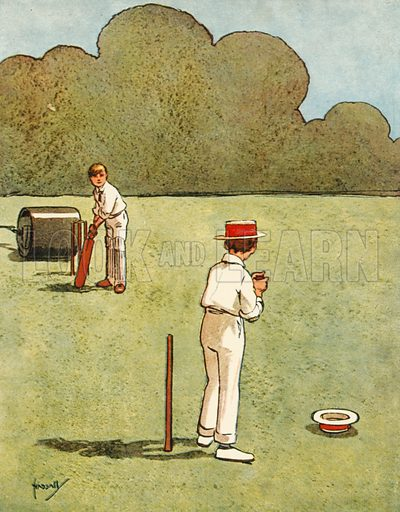 Cricket.  Illustration for Chums by John Hassall (Thomas Nelson, c 1906).
