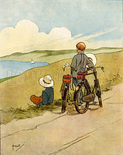 Cycling.  Illustration for Chums by John Hassall (Thomas Nelson, c 1906).