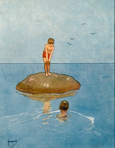 Swimming in the sea.  Illustration for Chums by John Hassall (Thomas Nelson, c 1906).