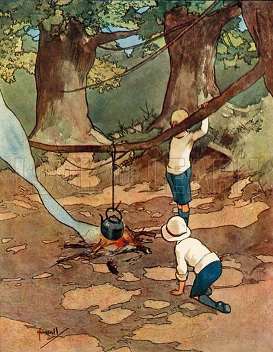 Picnicing.  Illustration for Chums by John Hassall (Thomas Nelson, c 1906).