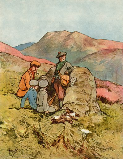 Grouse shooting.  Illustration for Chums by John Hassall (Thomas Nelson, c 1906).