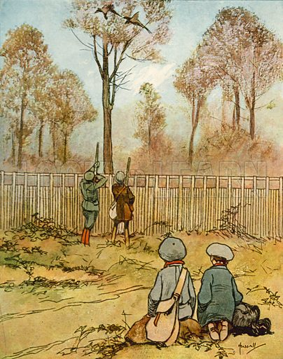 Pheasant shoot.  Illustration for Chums by John Hassall (Thomas Nelson, c 1906).