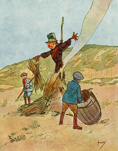 Guy Fawkes Day.  Illustration for Chums by John Hassall (Thomas Nelson, c 1906).