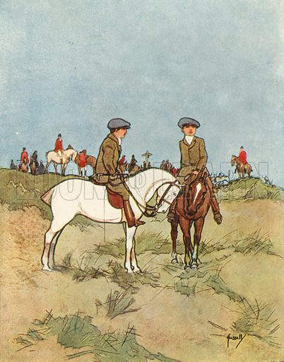 Hunting.  Illustration for Chums by John Hassall (Thomas Nelson, c 1906).