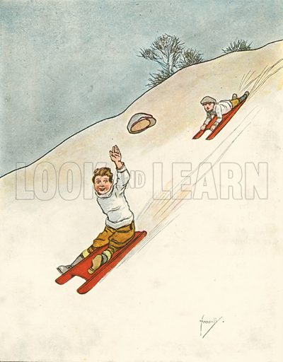 Tobogganing.  Illustration for Chums by John Hassall (Thomas Nelson, c 1906).