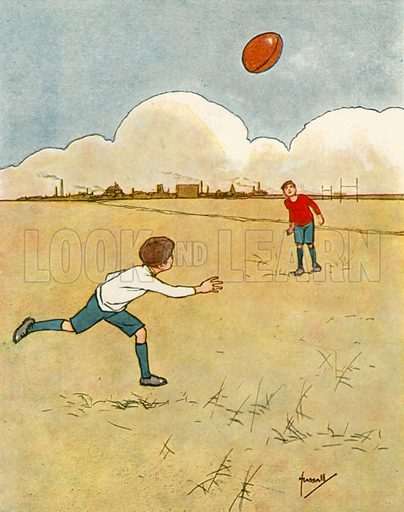Rugby football.  Illustration for Chums by John Hassall (Thomas Nelson, c 1906).