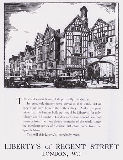 Advertisement for Liberty's Of Regent Street, London, c 1944.  Signed: Pinyon.
