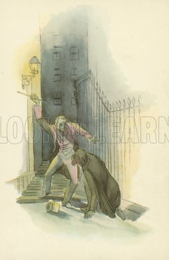 … hailing down a storm of blows.  Illustration for The Strange Case of Dr Jekyll and Mr Hyde by Robert Louis Stevenson (Robert Grant, 1946).  Note: Have found no info on artist.