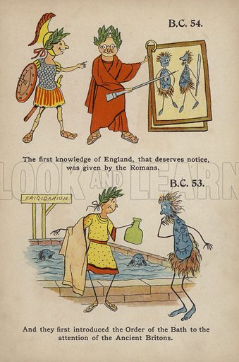 "Knowledge of the ancient Britons given by the Romans. Illustration for Comic Snap Shots from Early English History by ""Wil The Parkes"" (Ernest Nister, E P Dutton, c 1904)."