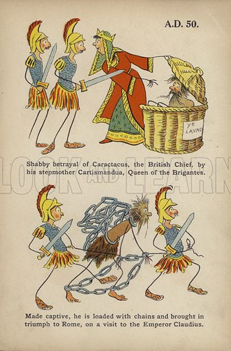 """Betrayal of Caractacus by his stepmother Cartismandua.  Illustration for Comic Snap Shots from Early English History by """"Wil The Parkes"""" (Ernest Nister, E P Dutton, c 1904)."""