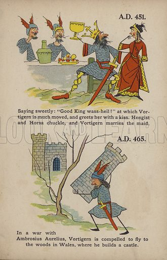 "Vortigern, Hengist, Horsa, Ambrosius Aurelius.  Illustration for Comic Snap Shots from Early English History by ""Wil The Parkes"" (Ernest Nister, E P Dutton, c 1904)."