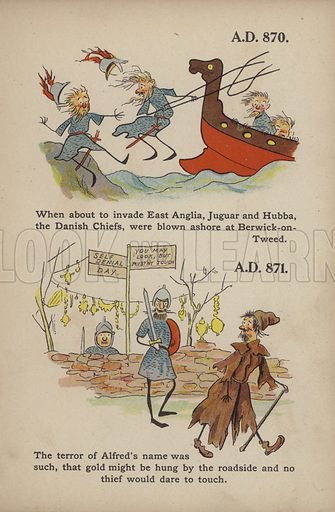 "Danes and King Alfred.  Illustration for Comic Snap Shots from Early English History by ""Wil The Parkes"" (Ernest Nister, E P Dutton, c 1904)."