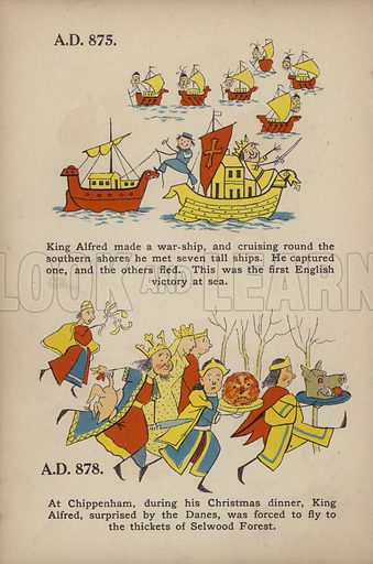"""King Alfred.  Illustration for Comic Snap Shots from Early English History by """"Wil The Parkes"""" (Ernest Nister, E P Dutton, c 1904)."""