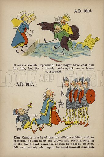 "King Canute.  Illustration for Comic Snap Shots from Early English History by ""Wil The Parkes"" (Ernest Nister, E P Dutton, c 1904)."