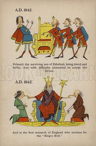 """Touching for the King's Evil.  Illustration for Comic Snap Shots from Early English History by """"Wil The Parkes"""" (Ernest Nister, E P Dutton, c 1904)."""