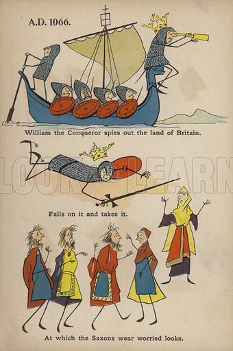 "Invasion of William the Conqueror.  Illustration for Comic Snap Shots from Early English History by ""Wil The Parkes"" (Ernest Nister, E P Dutton, c 1904)."
