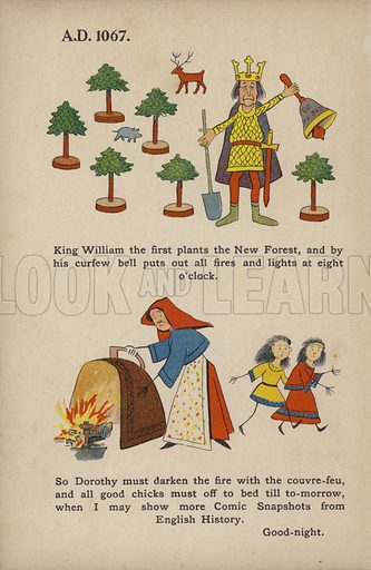 """William the Conqueror, The New Forest, Curfew Bell.  Illustration for Comic Snap Shots from Early English History by """"Wil The Parkes"""" (Ernest Nister, E P Dutton, c 1904)."""
