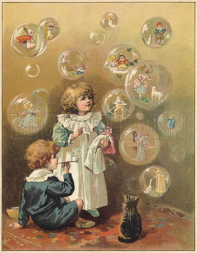 Fairy bubbles - containing characters from nursery rhymes.  Illustration for First Reading and Nursery Rhyme Book by Aunt Louisa (Frederick Warne, c 1890).