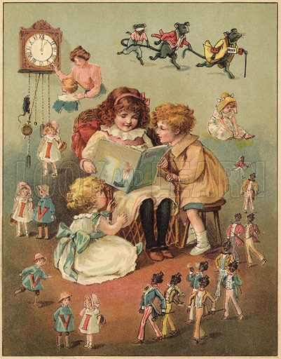 Once Upon A Time - children reading and the power of imagination.  Illustration for First Reading and Nursery Rhyme Book by Aunt Louisa (Frederick Warne, c 1890).