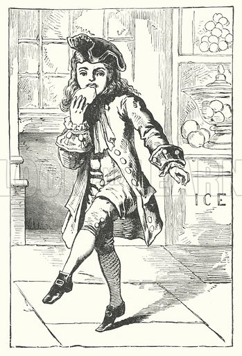 Handy Spandy, Jack-a-dandy, / Loved plum-cake and sugar-candy!  Illustration for First Reading and Nursery Rhyme Book by Aunt Louisa (Frederick Warne, c 1890).