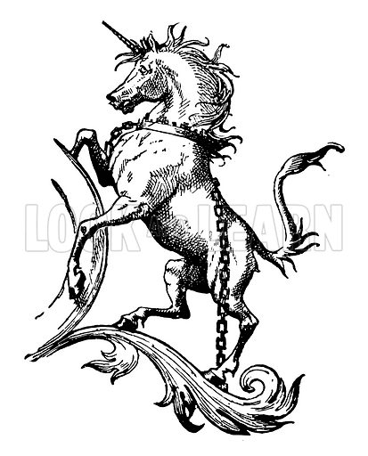 Heraldic unicorn.  Illustration for First Reading and Nursery Rhyme Book by Aunt Louisa (Frederick Warne, c 1890).  Note: Image has been digitally enhanced to facilitate repro at large size.