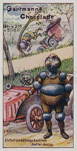 Protective clothing.  One of a set of trade cards issued by Gartmann's Chocolade, early 20th century.