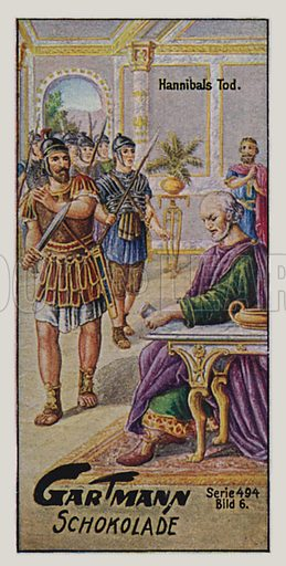 Hannibal.  One of a set of trade cards issued by Gartmann's Chocolade, early 20th century.