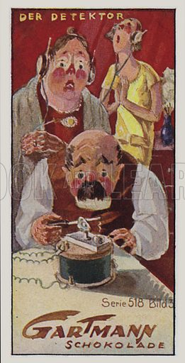 Wireless.  One of a set of trade cards issued by Gartmann's Chocolade, early 20th century.