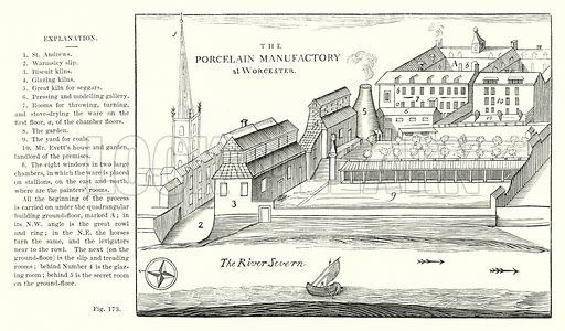 The Porcelain Manufactory at Worcester.  Illustration for A History of Pottery and Porcelain Mediaeval and Modern by Joseph Marryat (2nd edn, John Murray, 1857).