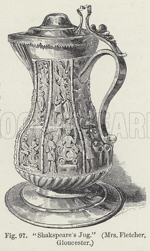 Shakespeare's Jug.  Illustration for A History of Pottery and Porcelain Mediaeval and Modern by Joseph Marryat (2nd edn, John Murray, 1857).