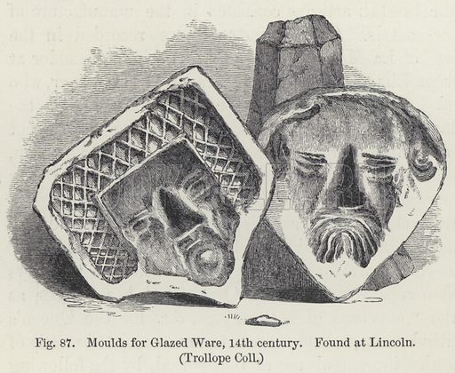 Moulds of glazed ware, 14th century, found at Lincoln.  Illustration for A History of Pottery and Porcelain Mediaeval and Modern by Joseph Marryat (2nd edn, John Murray, 1857).