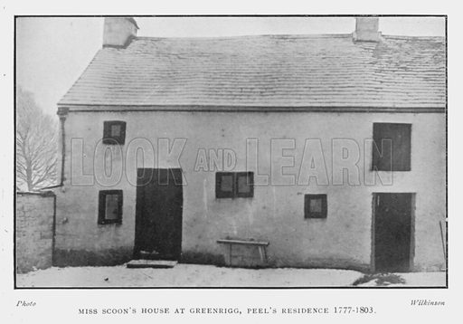 Miss Scoon's House at Greenrigg, John Peel's residence 1777-1803.  Illustration for John Peel, Famous in Sport and Song by Hugh Machell (Heath Cranton, 1926).