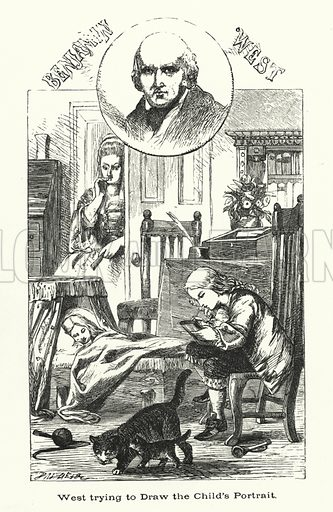 Benjamin West, trying to draw the child's portrait.  Illustration for Men Who Have Made Themselves (James Blackwood, c 1875).