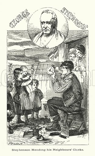 George Stephenson, mending his neighbours' clocks.  Illustration for Men Who Have Made Themselves (James Blackwood, c 1875).